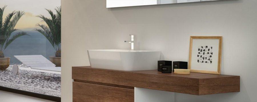 ארון אמבטיה משטח עץ