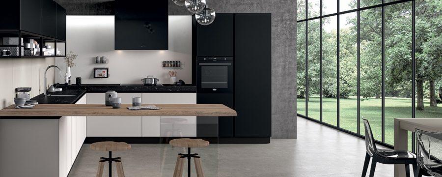 מטבח מודרני לבן ושחור